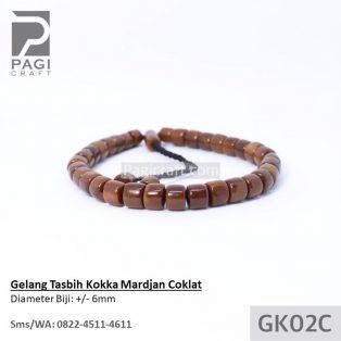 Gelang Tasbih Kokka Mardjan Coklat BERSERTIFIKAT Kaukah